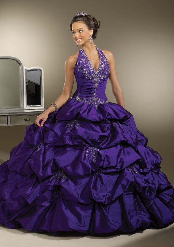 Purple Quinceanera Dresses   Purple halter dress with rhinestones   Sweet 15 dress   Vestidos de Quinceanera #quince #quinceanera #vestidos