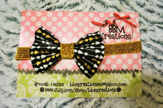black white gold headband bow headband headband by BBMCreations