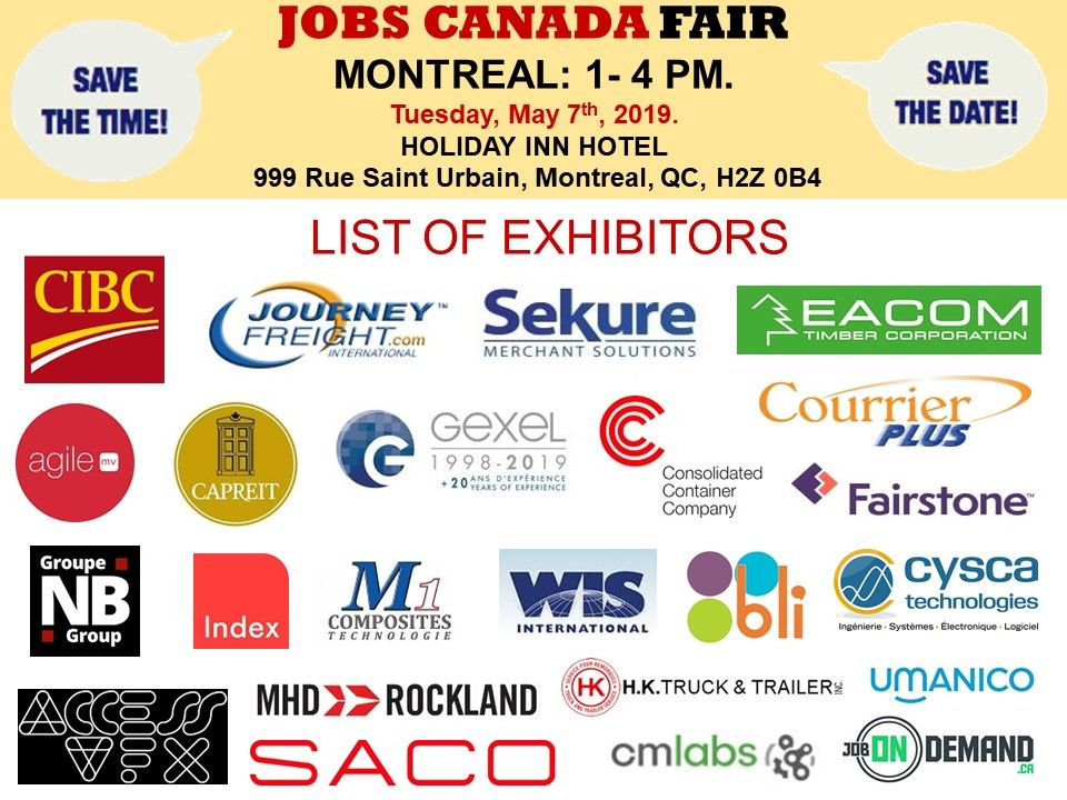 List Of Hiring Companies For Montrealjobfair May 7th 2019 1 4pm