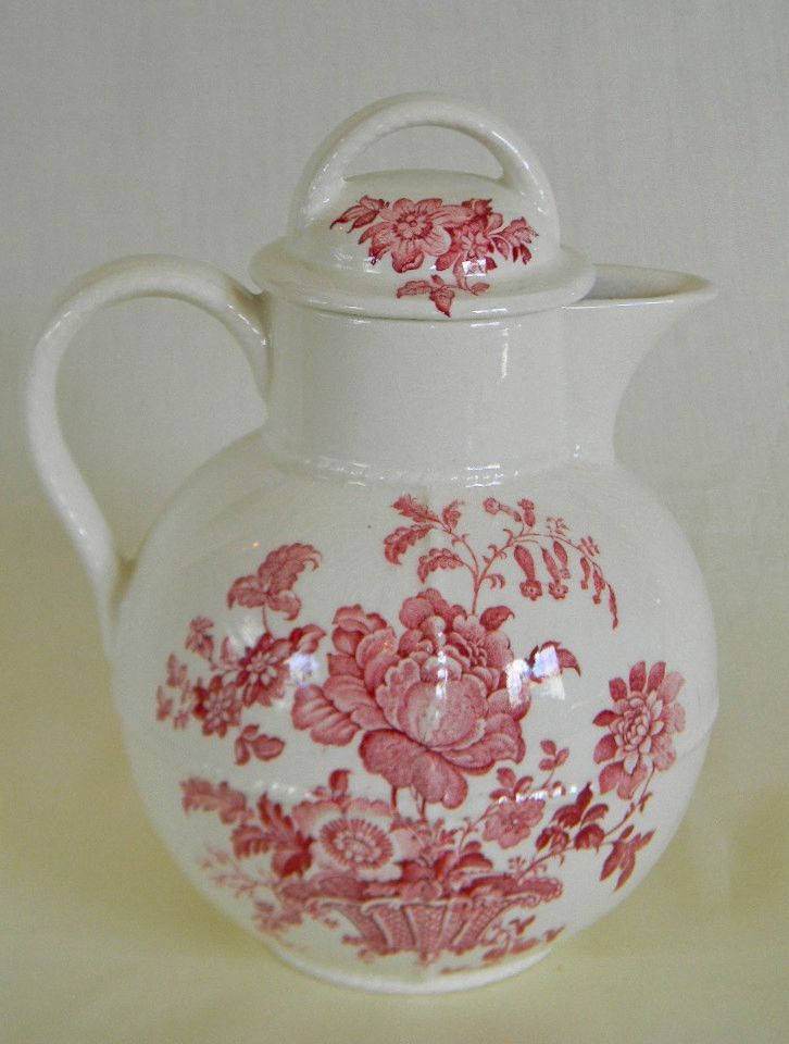 Red Transferware Pitcher Coffee Tea or Hot Water Pot Charlotte Basket