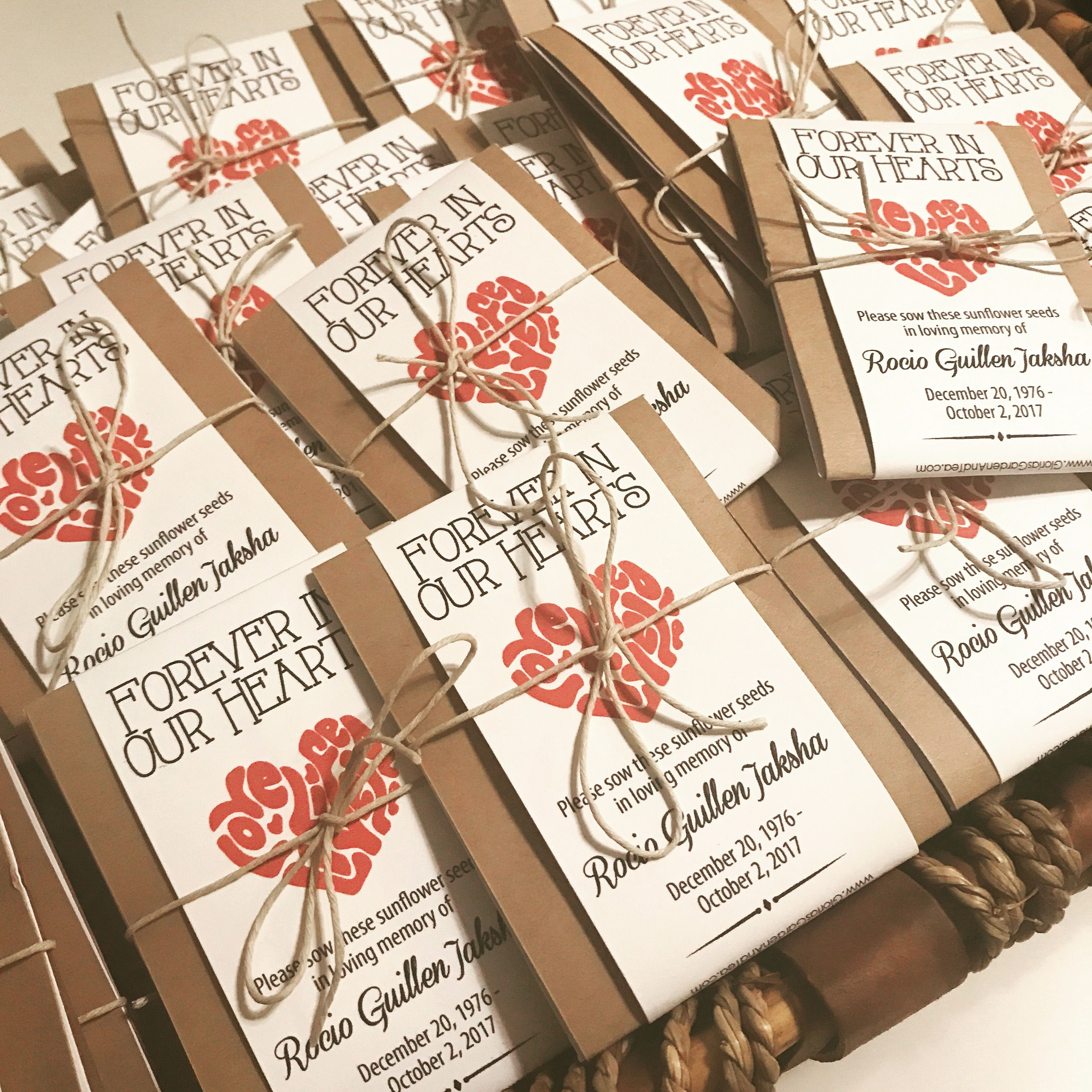 10 Forget Me Not Seed Packet Favours By Wedding In A: Custom Ordered And Personalized Memorial Forever In Our