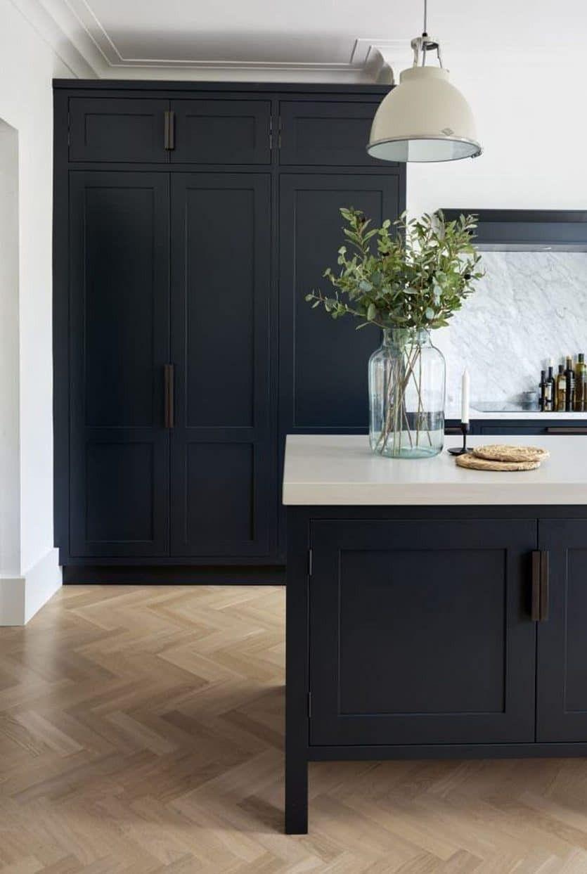 Emily Henderson Blog Dark Kitchens Honed Matte Black Stone Countertop Navy Cabinets Home Decor Kitchen Interior Design Kitchen Kitchen Trends