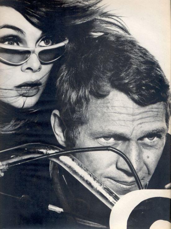 Steve McQueen & Jean Shrimpton on a motorbike photographed by Richard Avedon for Harpers Bazaar 1965