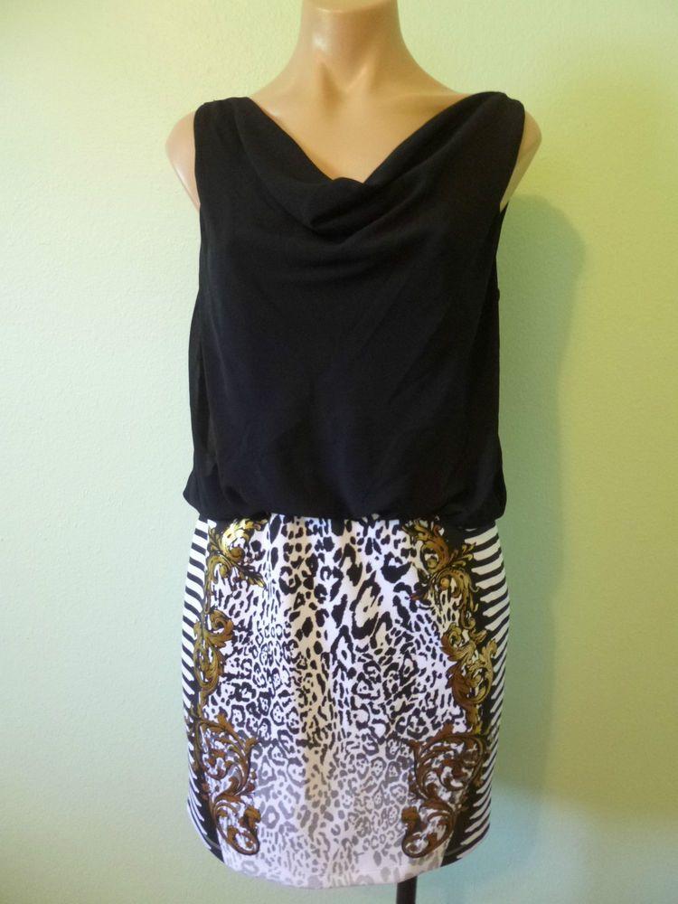 Black White Animal Print Blouson Dress S Drape Cowl Neck Gold Filigree
