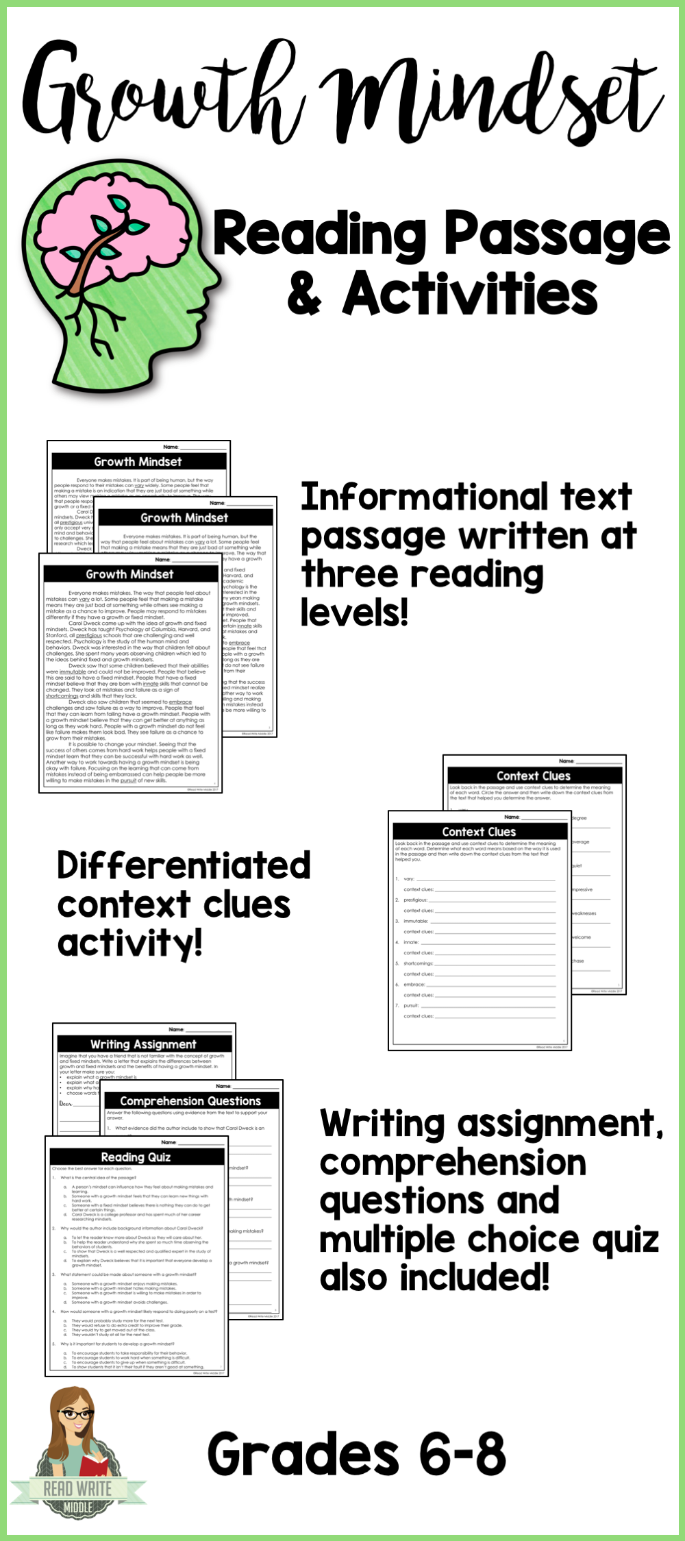 Growth Mindset Differentiated Reading Passage & Context