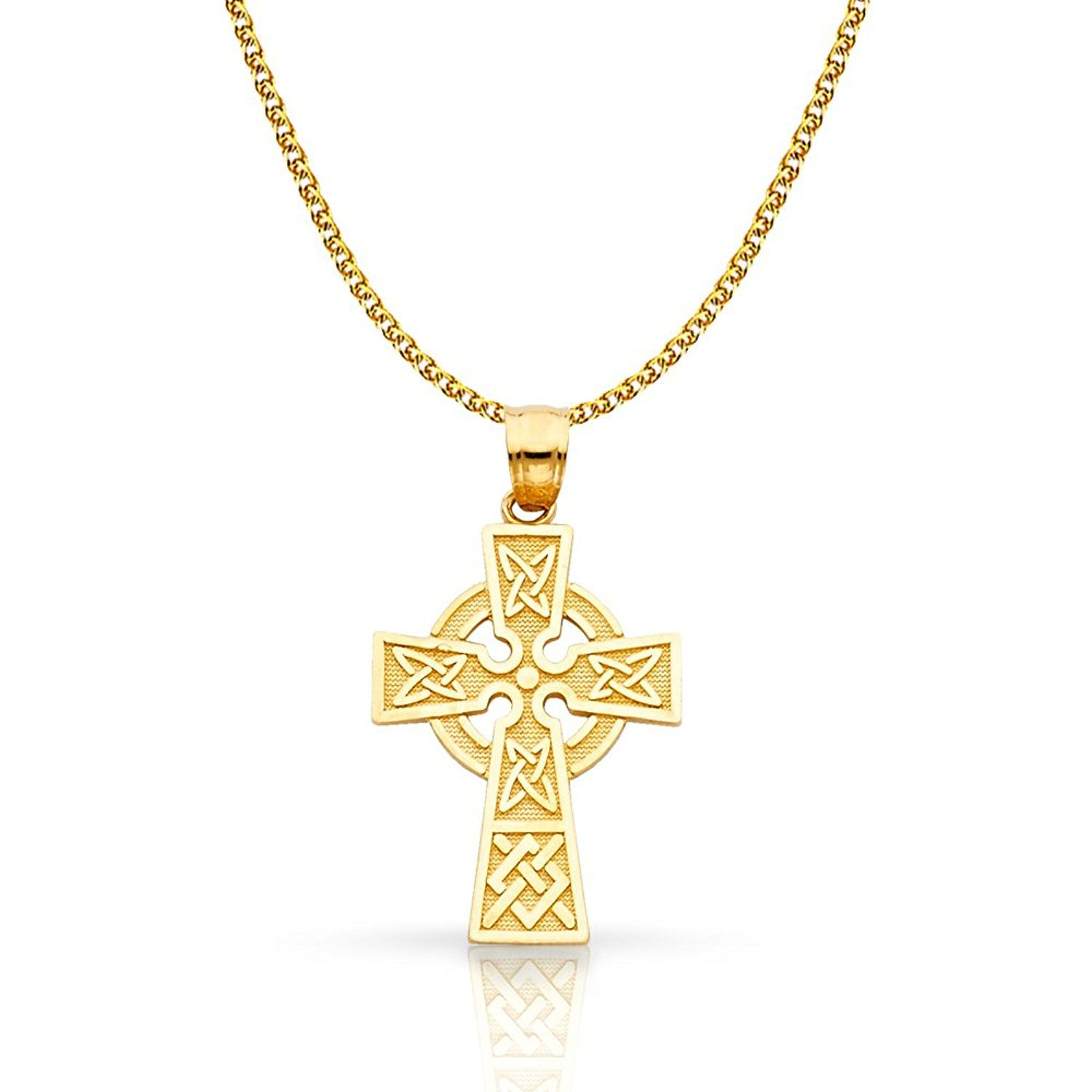 14K Two Tone Gold Crucifix Pendant with 1.5mm Flat Open Wheat Chain Chain Necklace