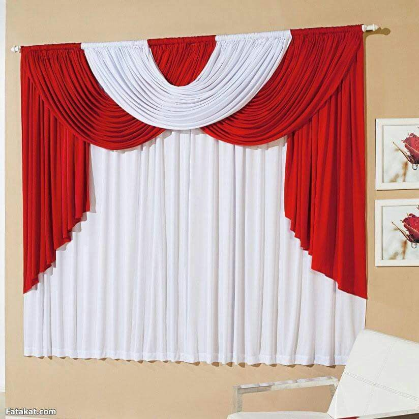 Red White Curtain Decor Curtain Designs Curtains Living Room
