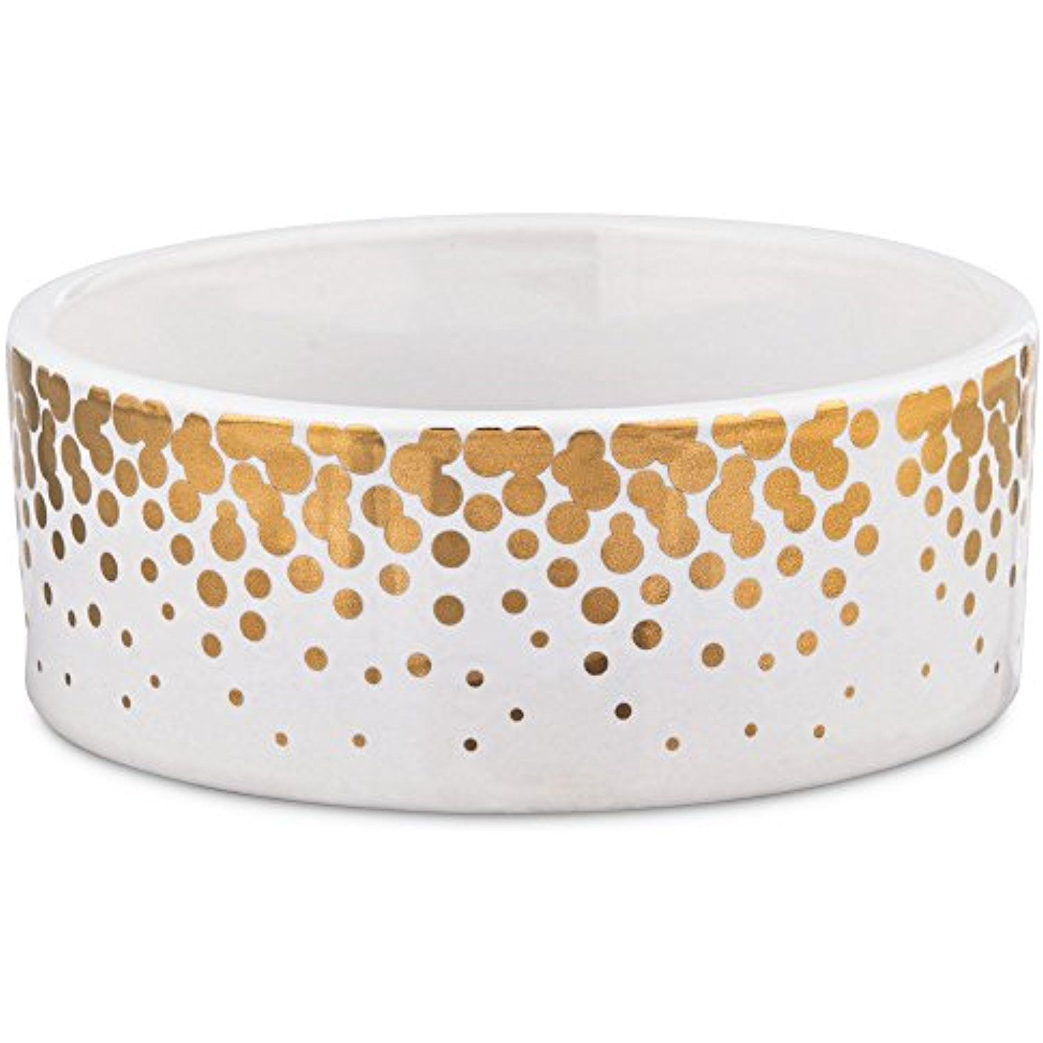 Harmony Gold Dots Ceramic Dog Bowl 1 Cup Small White Gold Do You Want Additional Info Click On The Imag Ceramic Dog Bowl Dog Bowls Elevated Dog Bowls