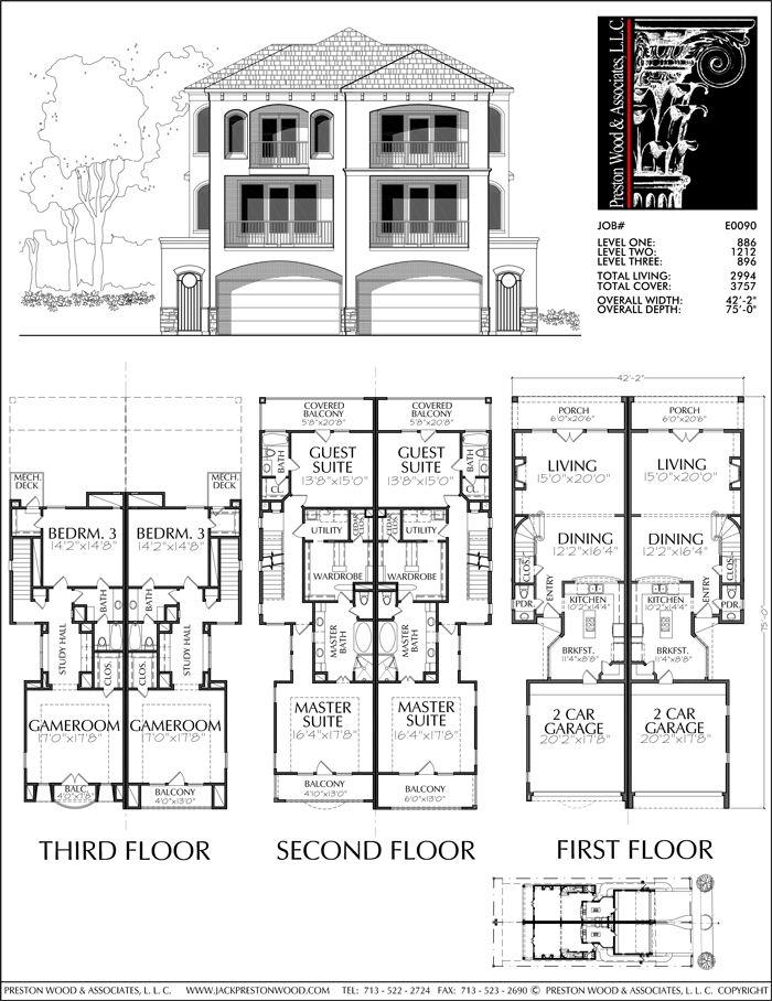 Duplex Townhouse Plan E0090 Town House Floor Plan Model House Plan Duplex Plans