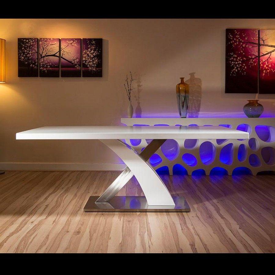 Delightful Modern Dining Table White Glass Top/white Gloss X Base 2 Metre X 1 Metre