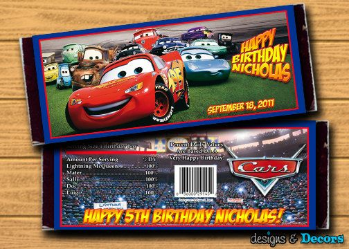 Cars Matching Party Favors - Custom You Print Candy Bar Wrappers - Birthday Party