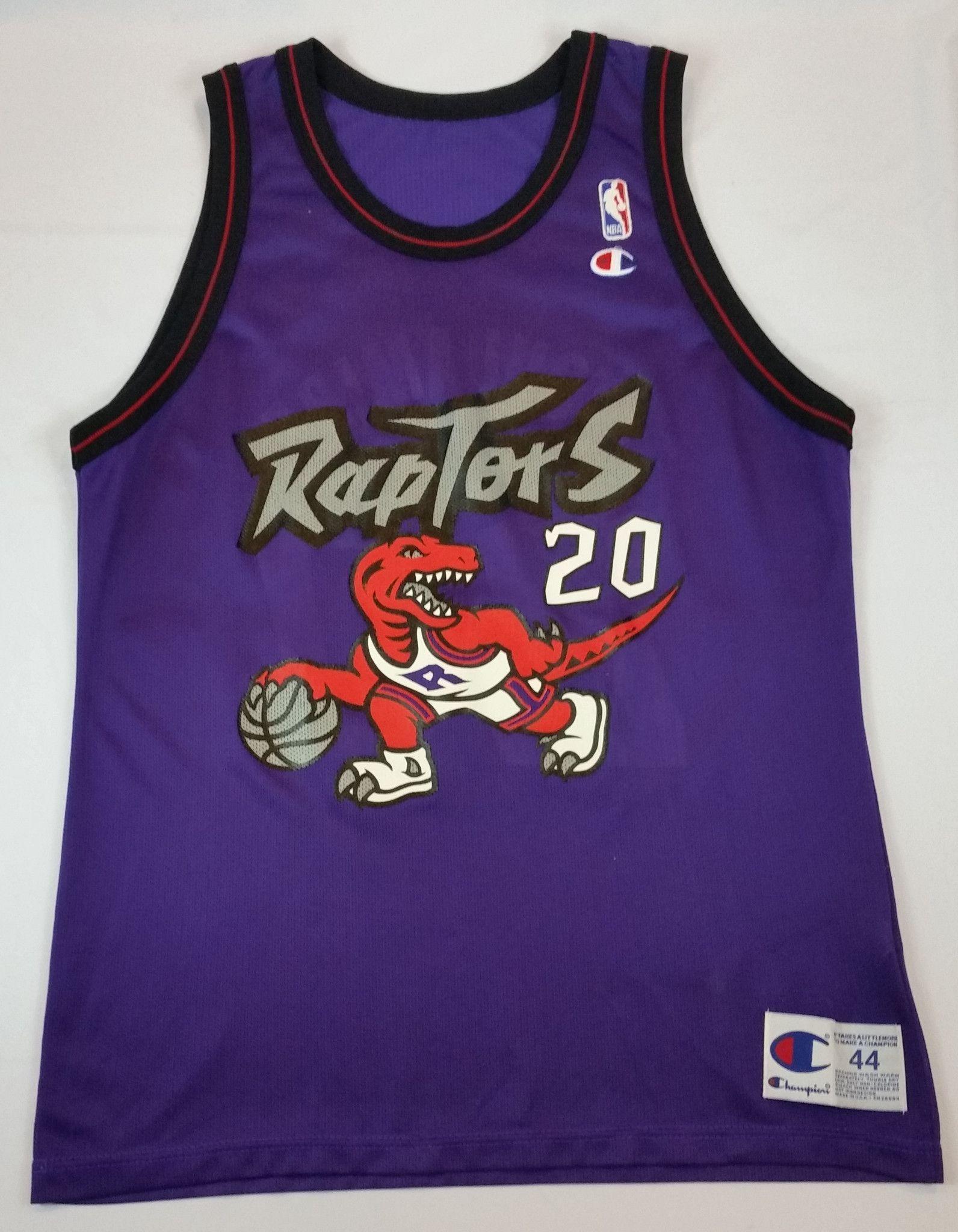 bacb75c3cb1 Damon Stoudamire #20 Champion Jersey Vintage Toronto Raptors NBA Rare Mens  44