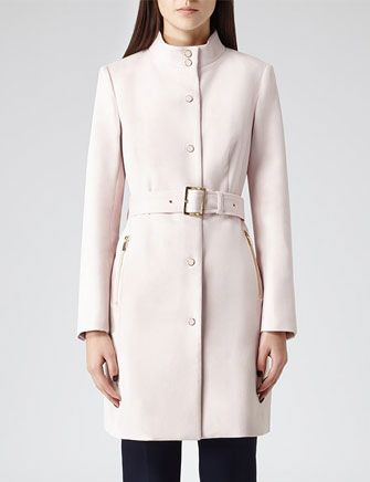 REISS - The Margo High Neck Tailored Coat  hourglass silhouette, high neck, cinched waist, pink coat