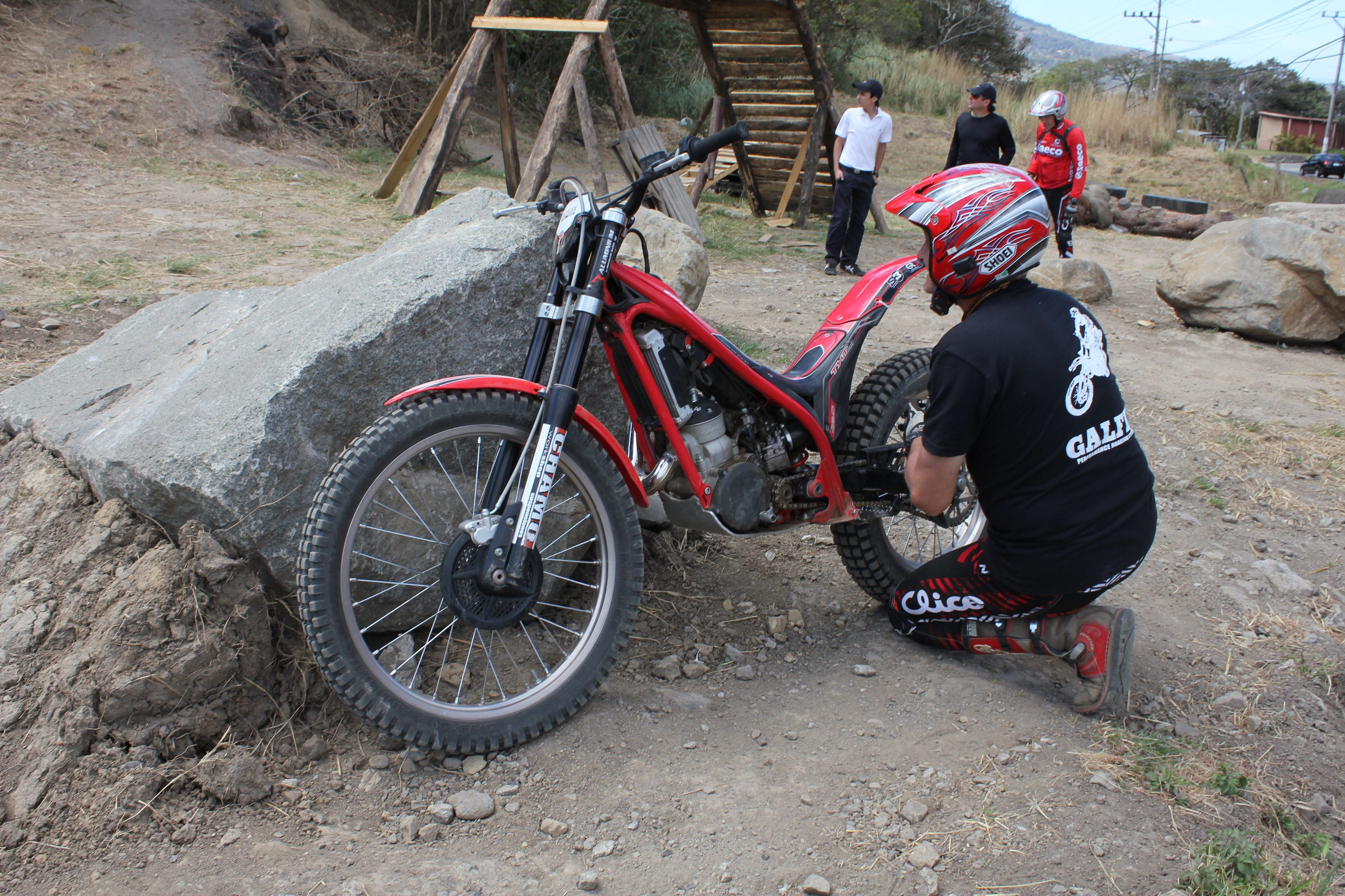 Fixing the motorbike before a trials run