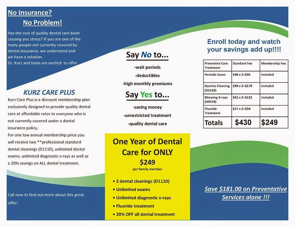 No Dental Insurance No Problem At Kurz Dentistry Dental Plans