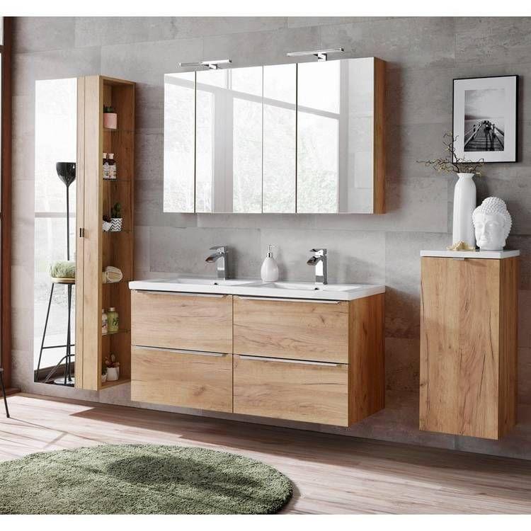Badezimmermobel Set Mit Doppel Keramik Waschtisch Toskana 56 Wotaneich In 2020 Klassisches Badezimmer Waschtisch Badezimmermobel Set
