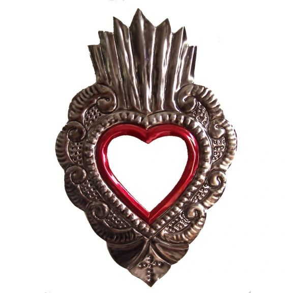 Mirror, an examples of Mexican tin art; I'm adding thorns around mine. Love The Sacred Heart of Jesus!