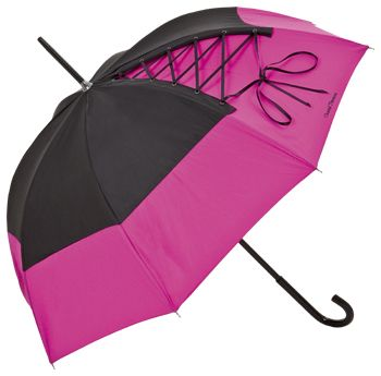 """Umbrella in """"Anouchka"""" Pink & Black with subtle corsage lacing from the internationally renowned lingerie designer, Chantal Thomass / http://www.coco24.de/index.php?cat=CHANTAL_THOMASS=ENG=2225=3a3db747fba05f17df45b5ae3c5dbea9"""