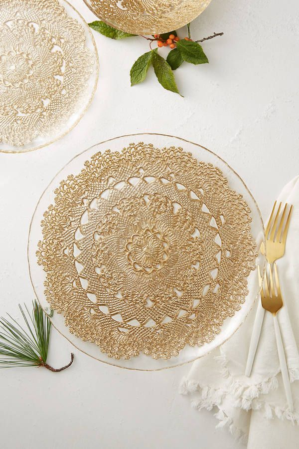 Anthropologie Metallic Lace Dinner Plate Clear Plastic Plates Wedding
