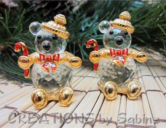 8cf4708ea92f Swarovski Crystal Christmas Bear Candy Cane Trimlite Gold Tone 1980s ...