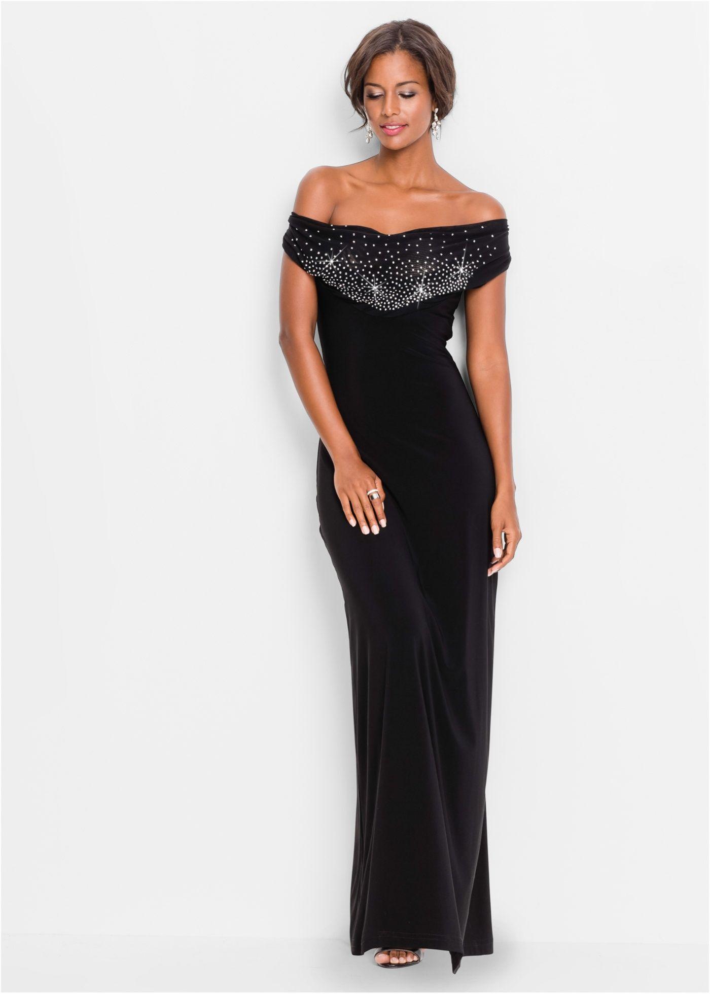Carmen-Kleid mit Deko-Steinen  Kleider, Lange kleider, Elegante