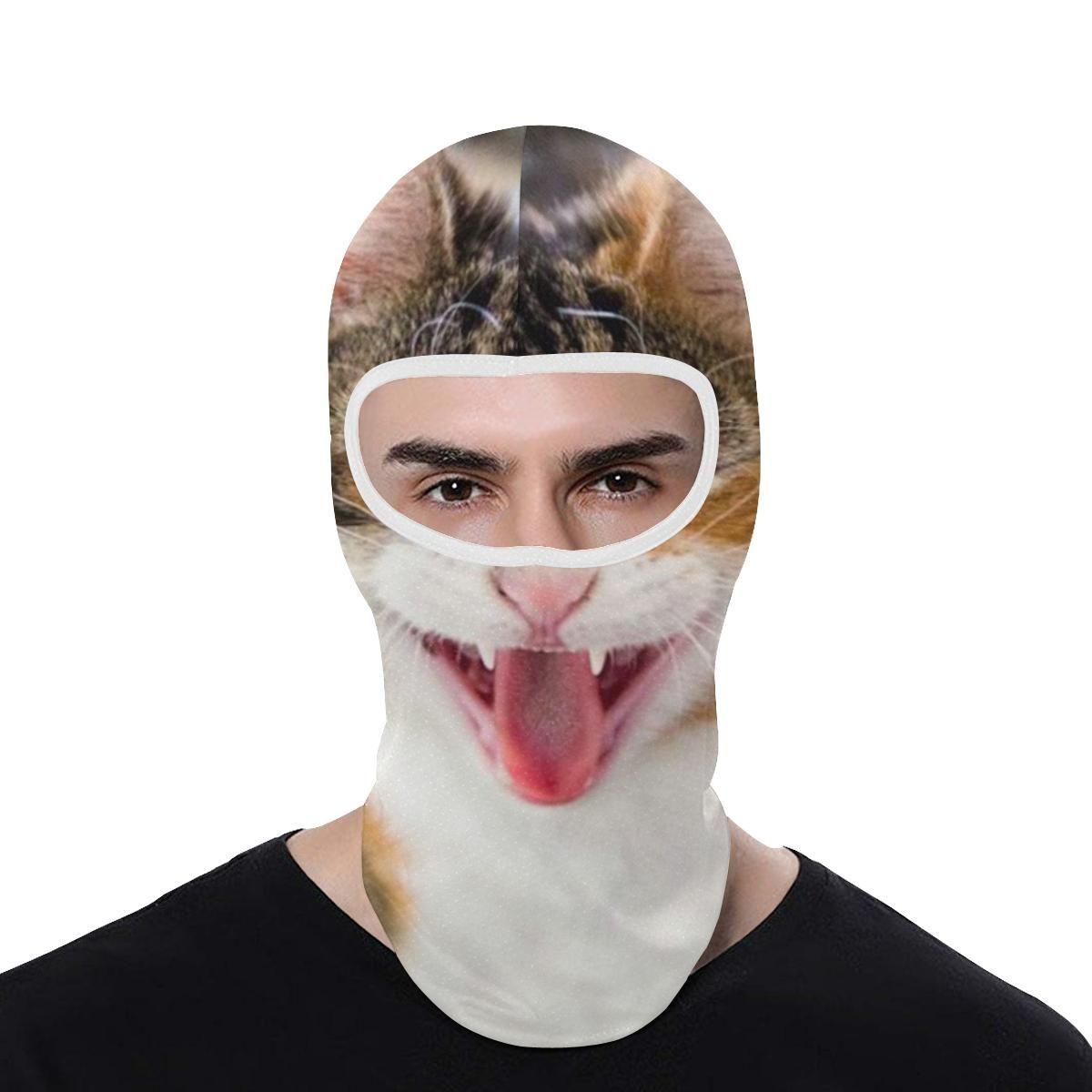 Cat Face Ski Mask Balaclava Cat Tongue Out Yawning Full Face Mask Ecatshop Cat Face Full Face Mask Cat Yawning
