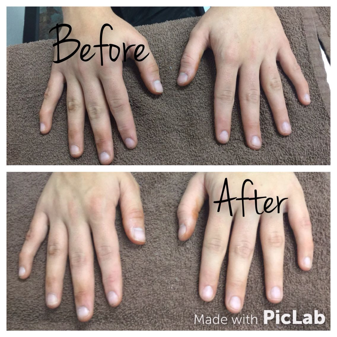 A Manicure For Men We Used Nail Bleach And Buffing Cream My Classmate That I Worked On Had Tanner Her Hands