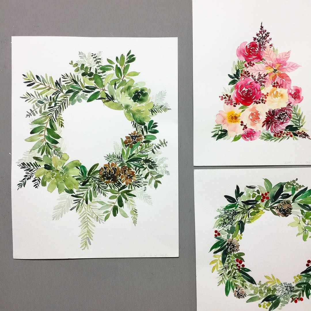 Pin By 늘봄날이어라 On 예쁜 꽃 그림 Wreath Illustration Watercolor Flowers Wreath Watercolor