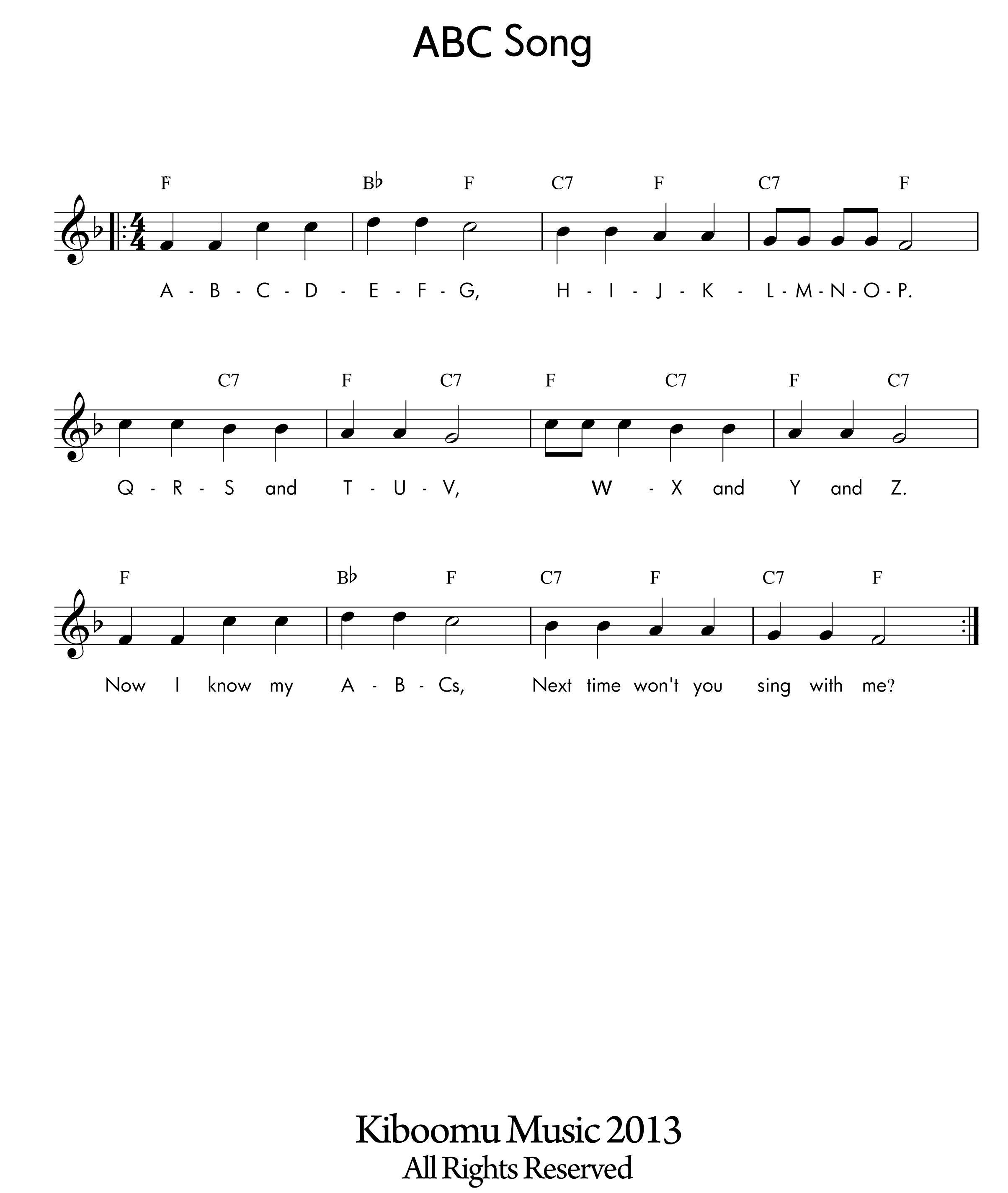 Abc Song Sheet Music At Kiboomu Kids Songs