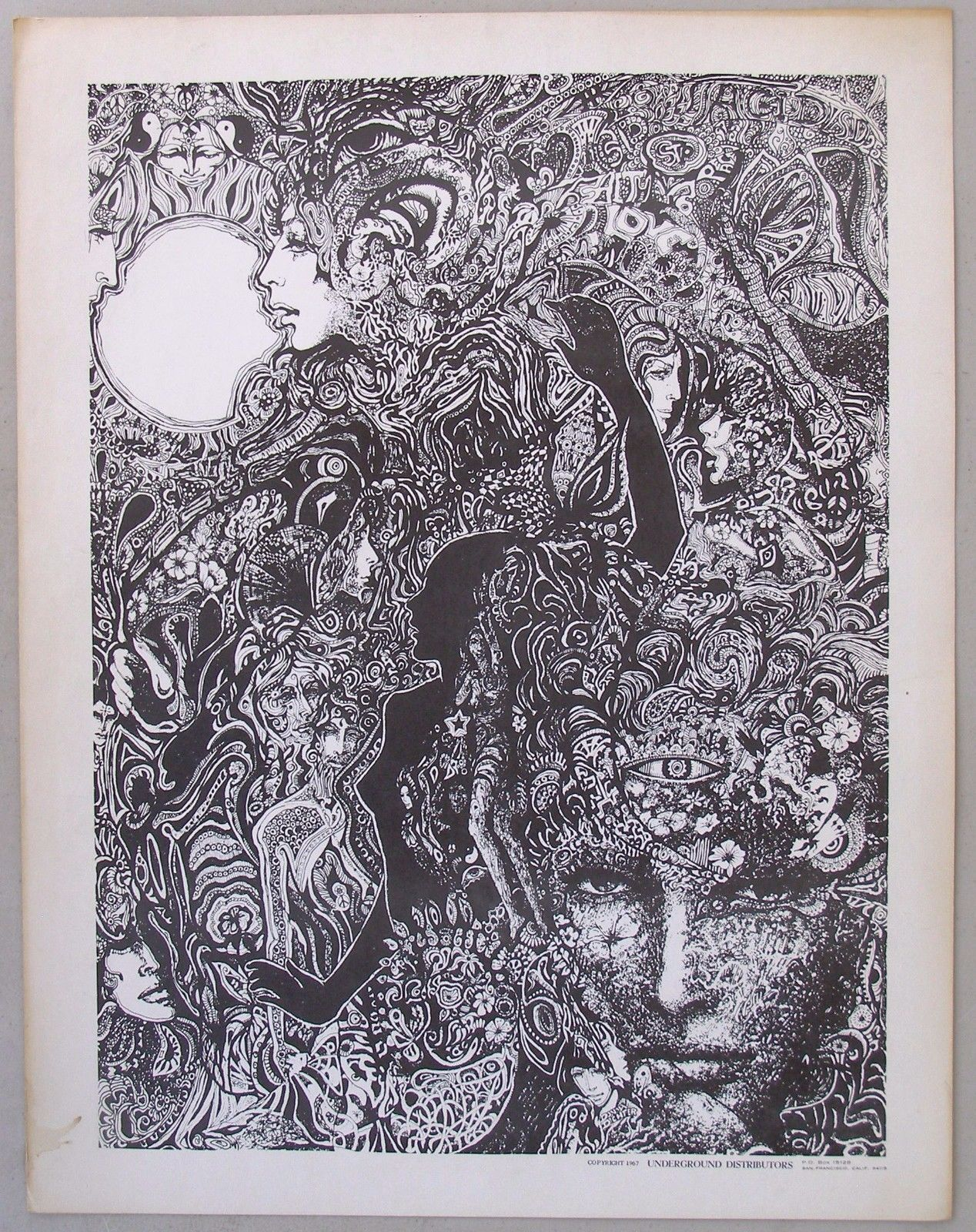 Black and White Psychedelic Poster, Underground
