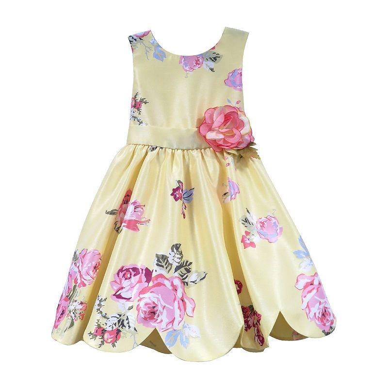 Girls Kids Summer Sleeveless Party Cotton Embroidered Rose Print Border Dress