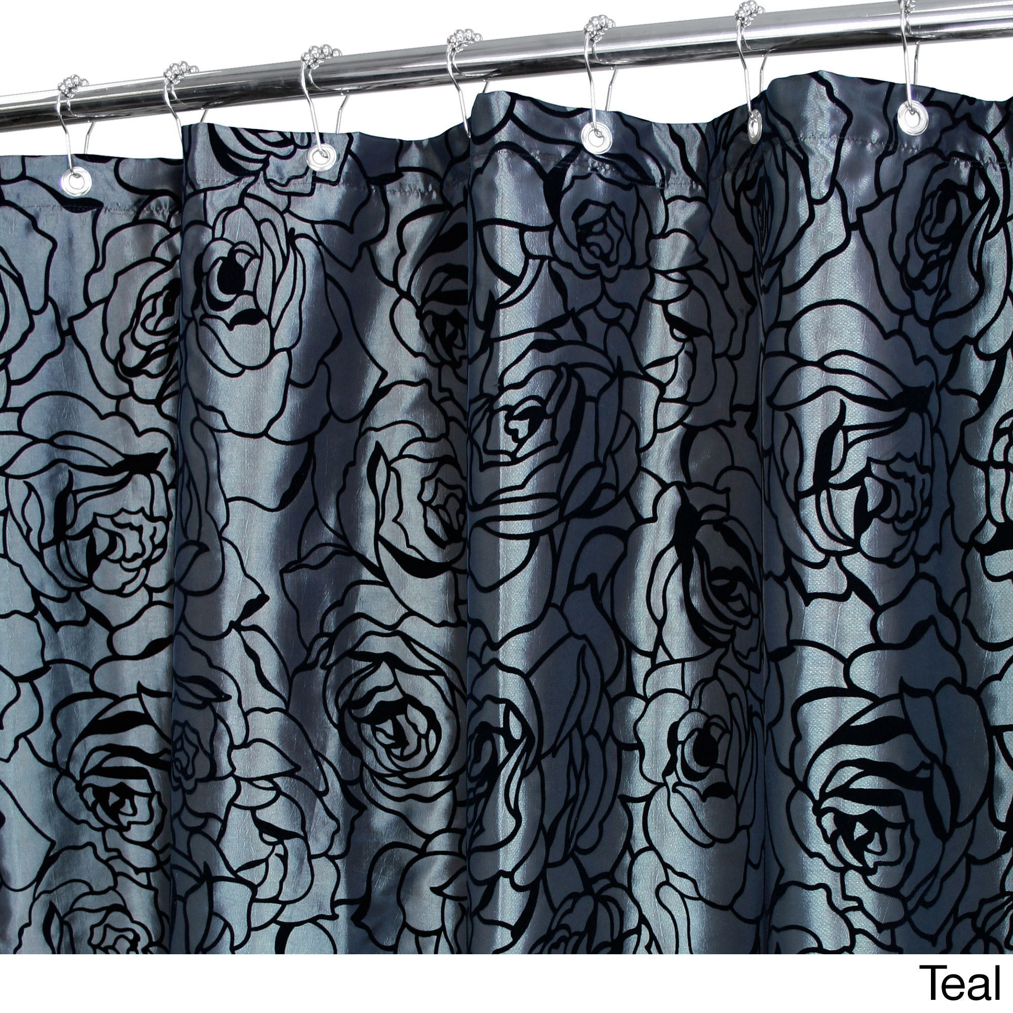 Park b smith cabbage rose luxury watershed shower curtain