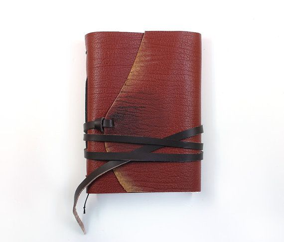 Cognac Leather Journal  Travel Leather Journal by Medievala, $28.00