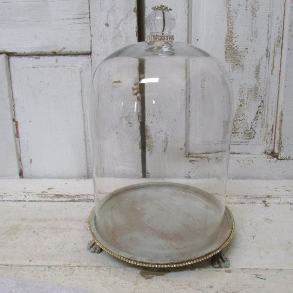 Large Gl Dome Bell Jar With Claw Foot Base Shabby Vintage