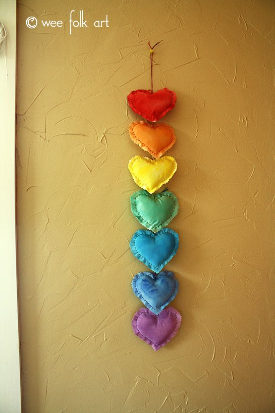 Puffy Hearts Wall Hanging