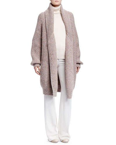 -5TD2 Chloe Shetland Ribbed Maxi Sweater, Cashmere Turtleneck Sweater & Crepe Sable Flare-Leg Pants