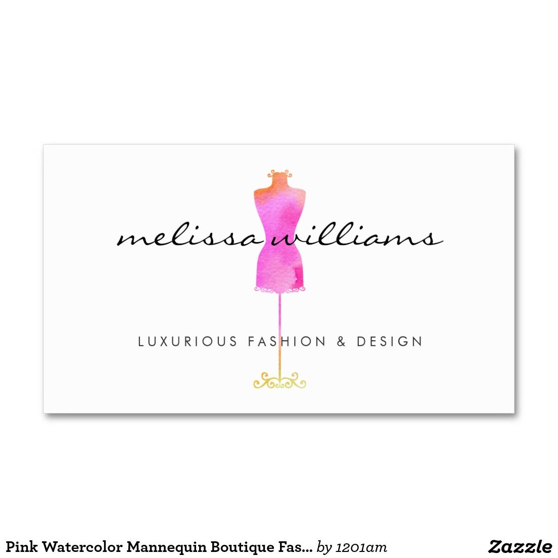 Pink watercolor dress mannequin fashion boutique business card pink watercolor dress mannequin customizable business card for boutiques fashion designers stylists fashion magicingreecefo Images