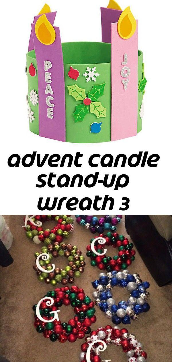Advent candle stand-up wreath 3 #candlecolormeanings The Advent Foam Candle Stand Up Wreath is a fun arts and crafts project for kids. It comes with sets of colorful self-adhesive foam pieces that can make 12 ... Ornament Wreath in Danville, IN (sells for $30) #christmasdecorationsdiy I have a love|dislike relationship with Sundays. Love them because they're part of the weekend and I consider it a rest day but dislike them because it means the weekend is over #candlecolormeanings Advent candle s #candlecolormeanings