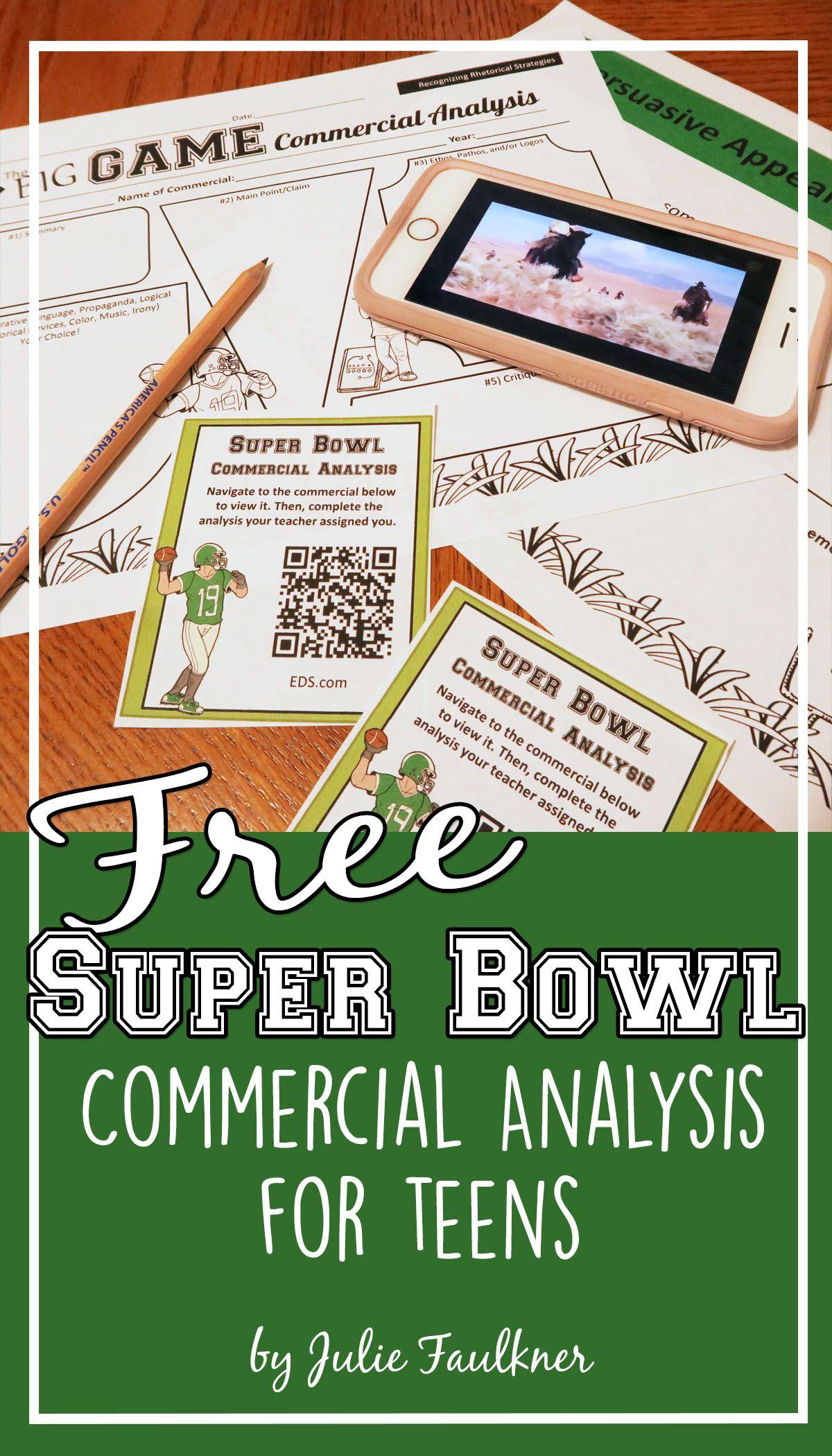 Super Bowl Commercial Analysis Free Lesson Activity High School Lesson Plans High School Activities Ethos Pathos Logos [ 2100 x 1200 Pixel ]