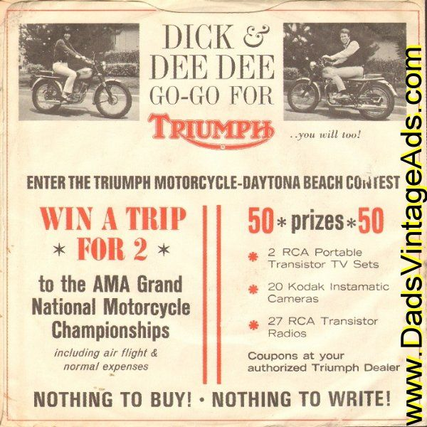 1965 Rare Dick & Dee Dee / Triumph Motorcycles 45 RPM Single Promo Sleeve & 4-Page Color Advertisement
