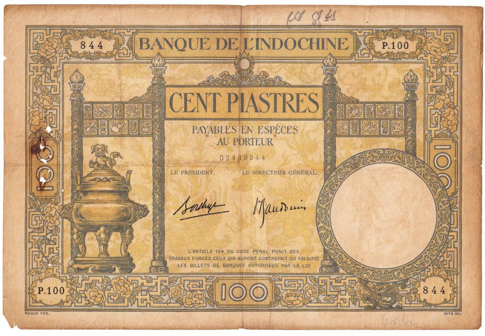 French Indochina 100 piastres banknote ND (1936-1939) pick # 51c - note payables