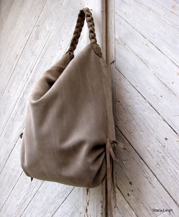Slouchy Leather Hobo Bag in Beige Suede by Stacy Leigh Made to ...