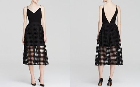 Cynthia Rowley Dress - Double V-Neck Crepe Diamond Cutout Skirt   Bloomindales $522 CA
