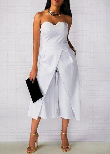 1d745d660b8c Strapless Solid White Straight Leg Jumpsuit