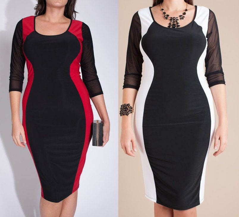 Plus Size Two Tone Color Block Hourglass Mesh Sleeve Bodycon Pencil