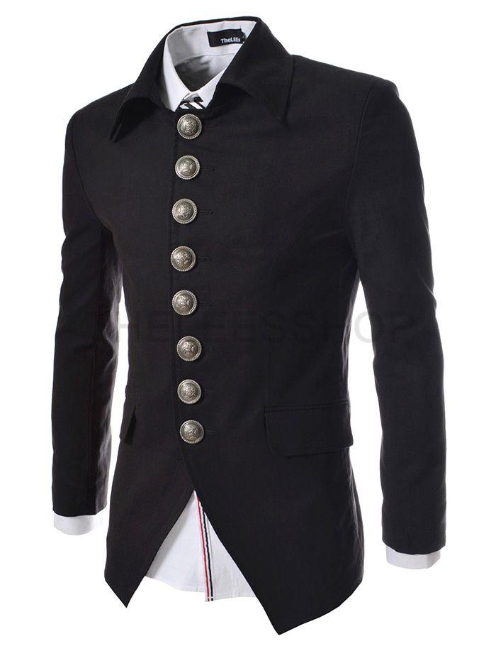 e0516059f36 (737-BLACK) Mens Luxury 8 Btn Blazer Jacket BLACK     Theleesshop     All mens  slim   luxury items