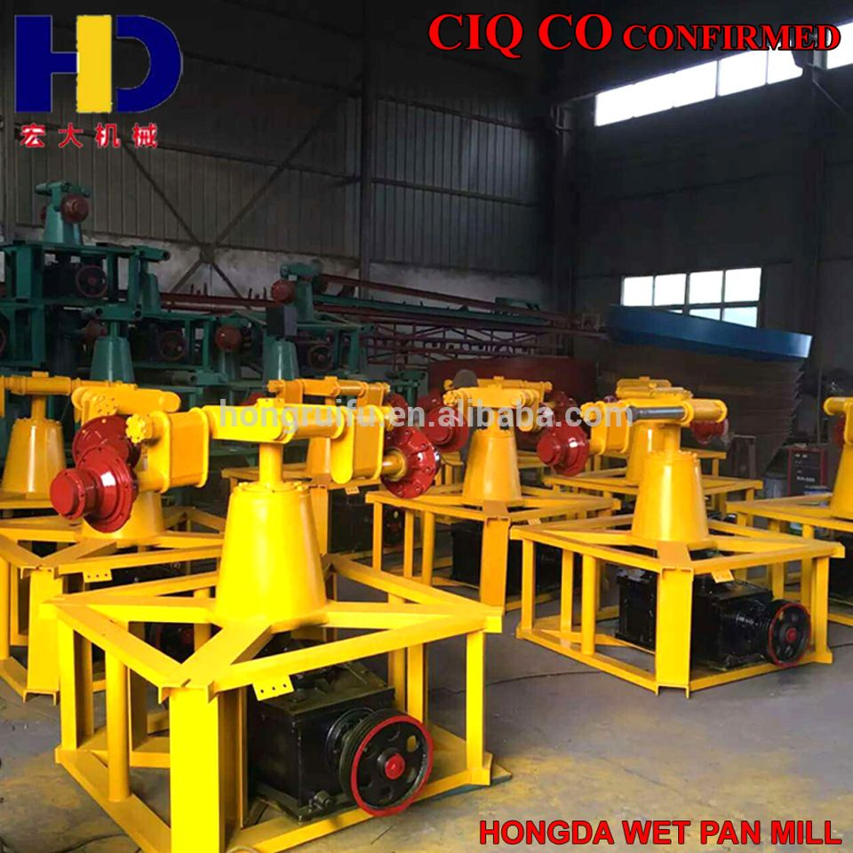 1200A Gold Benefication Plant Wet Grinding Machine Wet Pan Mill