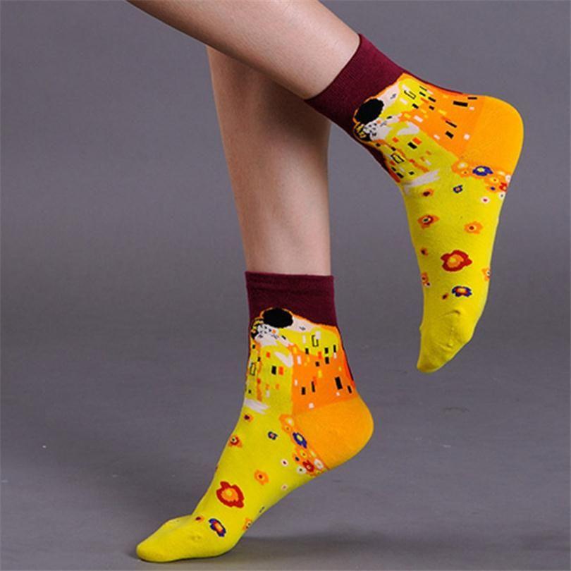 새로운 도착 반 고흐 파이팅 모나리자 패턴 양말 패션 여성 양말 뜨거운 판매 린다 면 재미 캐주얼 유명한 예술 양말 W029