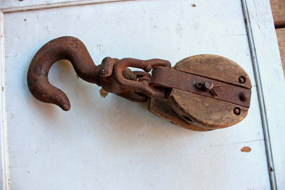 Antique Wooden Block And Tackle Barn Pulley With Hook By Bresworld 35 00 How To Antique Wood Block And Tackle Wooden Blocks
