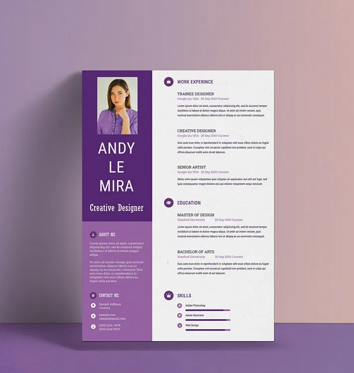 Free Download Purple Resume / CV Template Design (PSD